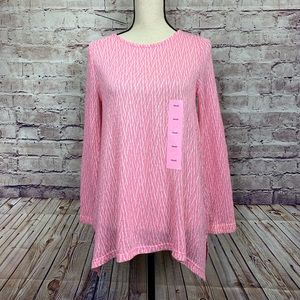 Chelsea & Theodore Pink Knit Kong Sleeve Tunic Top